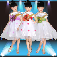 Child costume female child paillette tulle princess dress  dance clothes