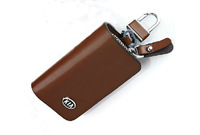 FREE SHIPPING 1PCS Brown Genuine Leather KIA LOGO Auto Key Case Bag KeyChain #23118