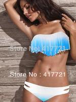2014 Free Shipping ML37087 New Arrival Classy Fashion Sexy White & Blue Ruffle Strapless Fringe Bikini Sets