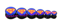 Superman Flesh Tunnel Black Acrylic Ear Plug 6-16mm Screw Body Piercing Jewelry Ear Expander Ring Men's Free shipping new style