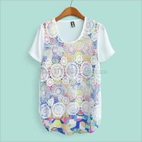 2013 summer women's sweet o-neck patchwork cutout crochet ag701 short-sleeve chiffon shirt