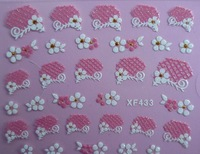 30pcs/lot 3D Design Tip Nail Art Sticker Decal Manicure Lace flowers nail stickers Free Shipping Wholesale 433