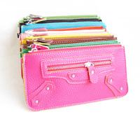 2013 candy color faux leather motorcycle single zipper envelope women's wallet clutch coin purse