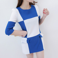 2013 summer fashion ol fashion o-neck 7 color block plaid patchwork women's one-piece dress af274