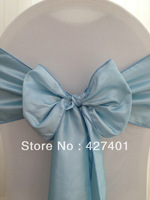 Hot Sale Ice Blue Taffeta Chair Sash For Wedding Event & Party Decoration