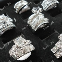 New 12pcs Wholesale Jewelry Lots 18K 14K Cubic Zircon Rhinestones silver Plated ring2 in 1 Rings