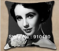 Free shipping!!! Hollywood stars pillow Elizabeth Taylor polyester cushion cover 40*40cm (one side printing)