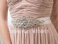 Wedding Crystal Belt,Bridal Beaded Sash. Wedding dress waistband, long satin belt JY024