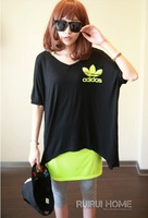 Women Two-pieces Fashion V-neck Batwing-sleeve Baggy Tees with Tank Top Free Shipping D312-B-990