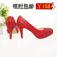 Crystal shoes high-heeled shoes bridal shoes wedding shoes wedding shoes handmade banquet platform red transparent women's shoes