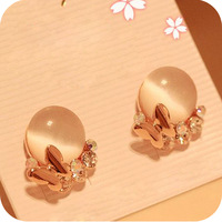 Min order is $10 fashion elegant rhinestone butterfly cat's eye stud earring