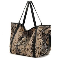 2013 Fashion 100% GENUINE LEATHER Women Handbag Sexy Snake And Leopard Grain Female Big Leather Shoulder Bags*Free Shipping