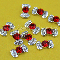 Wholesale 100pcs/lot Red Nail Art Alloy Rhinestone Decoration Bow Tie For 3d Nail Art Tips Free Shipping
