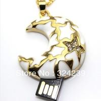 Wholesale crystal moon shape USB flash drive2.0 / mickey/crystal/car/key chain/gift memory stick/free shipping