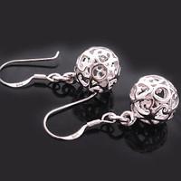 Factory direct / Free shipping hotsale women's girls delicate ball earrings 925 sterling silver