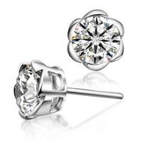 Factory direct / Free shipping hotsale Flower earring stud 925 sterling silver AAA crystal fashion & elegant