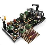 free shipping high quality Purple binglie glaze tea set big solid wood tea tray set kung fu tea set