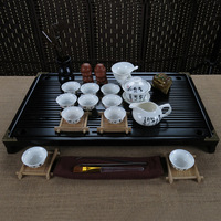 free shipping high quality Ceramic tea set kung fu tea band wood solid wood tea tray set