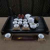 free shipping high quality Ceramic tea set kung fu tea band wood solid wood tea tray set