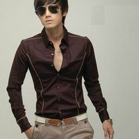Free shipping men's Casual Luxury Stylish Slim Long Sleeve shirts high quality 4 size