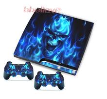 Frete Grátis (1pc) Crânios Adesivos Skins Decalques para PS3 Slim & 2 Game Controller Azul(China (Mainland))