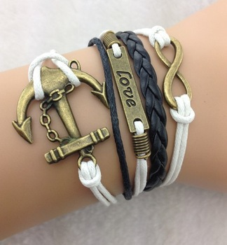 3pcs Multilayer Bracelet - Antique Brass infinity bracelet, love bracelet, anchor bracelet, black braid and wax cord 539(China (Mainland))