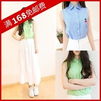 Summer women's 2013 small fresh small plaid shirt embroidery small cherry sleeveless shirt plaid shirt female