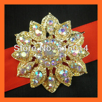 Free Shipping ! Crystal AB Rhinestone Bouquet Pins,Wedding Flower Pins ,Rhinestone Embellishment For Invitation ,Gold Color