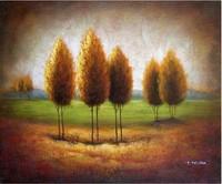 Trees Green Field Landscape Modern Art Oil Painting
