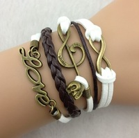 3pcs Infinity bracelet,Musical Note & Skull ,love bracelet in bronze--Persomalized Bracelet,charm bracelet,friendship b143