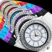 Geneva jelly watch women's gift Wristwatches 2013 popular  single row Rhinestone  watches wholesale discount