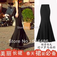 2013 vintage spring and summer women's skirt fish tail skirt slim hip slim lace decoration elegant trumpet mermaid skirt black