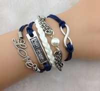 3pcs Infinity,love ,Believe Bracelet And Silver Wings bracelet - - Pearl Bracelet--navy blue Wax Cords, Leather Braid b51