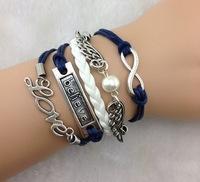 3pcs Infinity,love ,Believe Bracelet And Silver Wings bracelet - - Pearl Bracelet--navy blue Wax Cords, Leather Braid b51