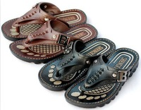 Free shipping 2013 fashion cool slippers, PU leather beach slippers sandal for men