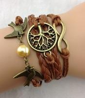 3pcs Bangle Cuff Bracelet Tree of life Bracelet copper Karma Bracelet Lover Birds Bracelet Pearl Personalized Bracelet 857