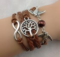 3pcs Infinity , Wish Tree & Couple bird Charm Bracelet--Antique Silver Bracelet--Wax Cords and Imitation Leather Bracelet b48