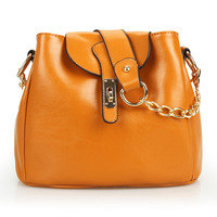 Hot selling genuine leather women bucket shoulder bag  candy color small cowhide chain messenger bag  / free shipping