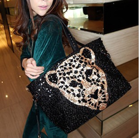 Free Shipping Fashion personality vintage 2013 paillette leopard head women's shoulder bag casual handbag bag motorcycle bag