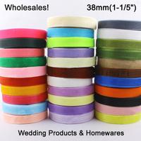 """Wholesales Free Shipping 1-1/2""""(38mm) 200yard/lot Polyester fibber ribbon DIY Nylon organza ribbon OR-38-001"""