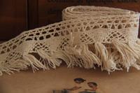 (10 yds/lot & width 4CM ) Free Shipping VL106 Vintage Beige Crochet  Cotton Lace Trim Tassel