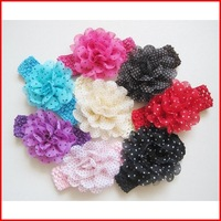 Free Shipping (12pcs/lot) Factory Wholesale Lace Big Flower Infant  Hairbands Baby Elastic Hair Band Flower Hair Accessories
