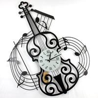 Drow music wall clock violin clock wrought iron mute clock decoration quality decoration watch