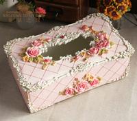Fashion Rustic Royal Princess Rose Storage Box Home Decoration Birthday Gift Paper Towel Tube Tissue Box Toilet Paper Holder