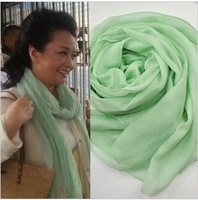 Scarf female spring and autumn scarf cape dual-use ultra long cape sunscreen silk scarf silk mint green female