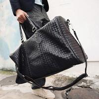 2012 PU luxury fashion knitted large capacity bag men messenger bag handbag travel bag