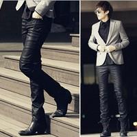 Nano coating slim motorcycle leather pants male leather pants male leather pants 2013 men's clothing trousers