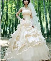 Princess bride wedding dress tube top slit neckline wedding qi formal dress bridesmaid wedding dress new arrival 2013