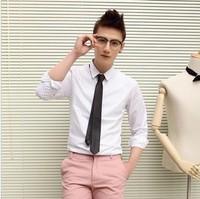 Clothing 2013 spring slim polka dot shirt mens casual long-sleeve shirt tie