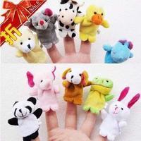 Hot Sale 10pcs/lot  Cartoon Animal Finger Puppet,Finger toy,finger doll,baby dolls,Baby Toys,Animal doll